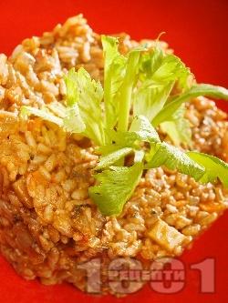 Вкусно вегетарианско ризото с пресни (или замразени) гъби манатарки, зеленчуци и сирене пармезан - снимка на рецептата